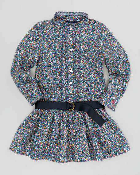 Floral Cotton Shirt Dress, Blue Multi, Sizes 2-3