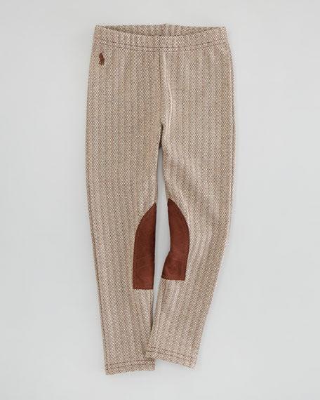 Herringbone-Tweed Jodhpur Leggings, Brown, Sizes 2-3