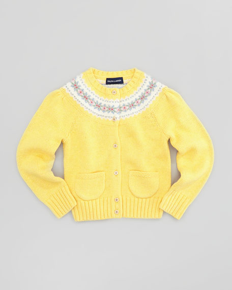 Fair Isle Yoke Cardigan, Yellow, 2T-3T