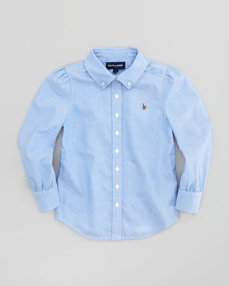 Long-Sleeve Fitted Oxford Shirt, Blue, Sizes 4-6X