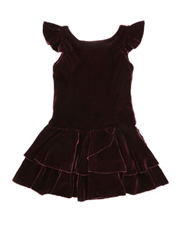 Ralph Lauren Childrenswear Drop-Waist Velvet Flutter-Sleeve Dress, Bordeaux, Sizes 2T-3T