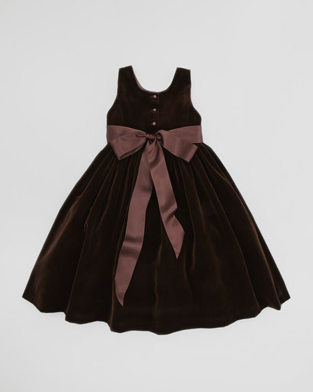 Velvet Dress with Silk Flowers, Chestnut Brown, 2T-3T