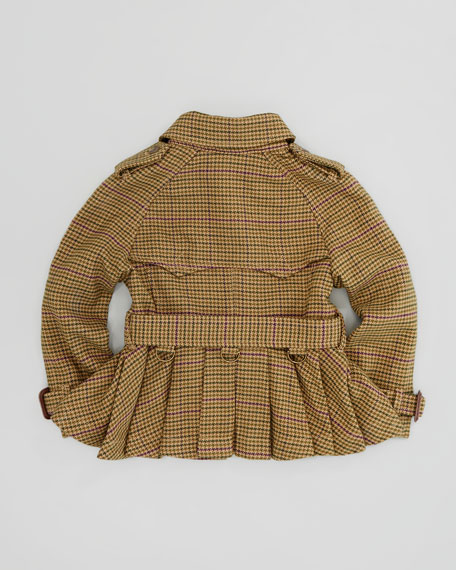 Cropped Houndstooth-Tweed Trench Coat, Sizes 4-6X