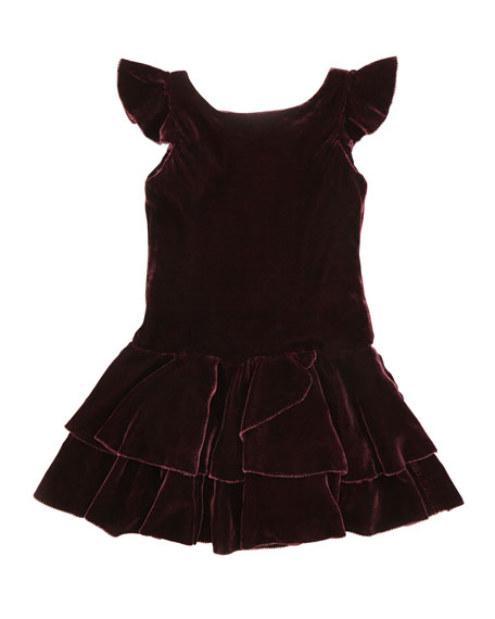 Drop-Waist Velvet Flutter-Sleeve Dress, Bordeaux, Sizes 4-6X