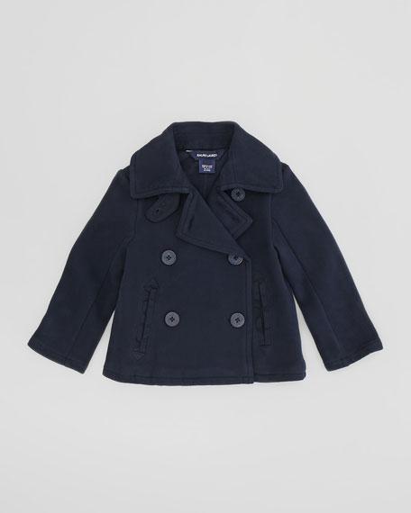 Fleece Pea Coat, Aviator Navy, 4-6X