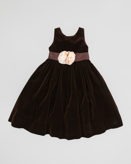 Velvet Dress with Silk Flowers, Chestnut Brown, Sizes 4-6X