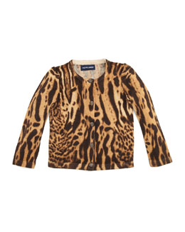 Ralph Lauren Childrenswear Ocelot-Print Cardigan Sweater, 2T-3T