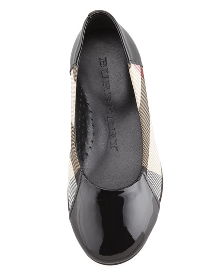 Check Patent-Trim Ballerina, Black