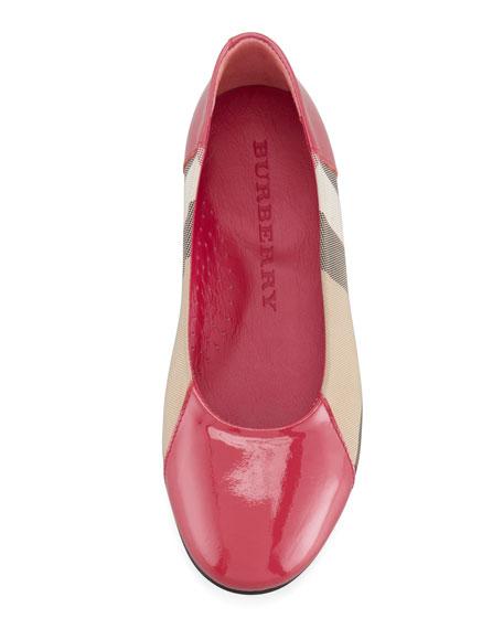 Check Patent-Trim Ballerina, Claret Pink