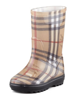 Burberry Haymarket Check Rain Boot, Toddler Sizes