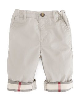 Burberry Check-Cuff Khaki Trousers, Sizes 18M-3Y