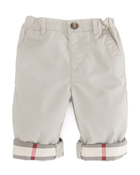 Check-Cuff Khaki Trousers, Sizes 18M-3Y