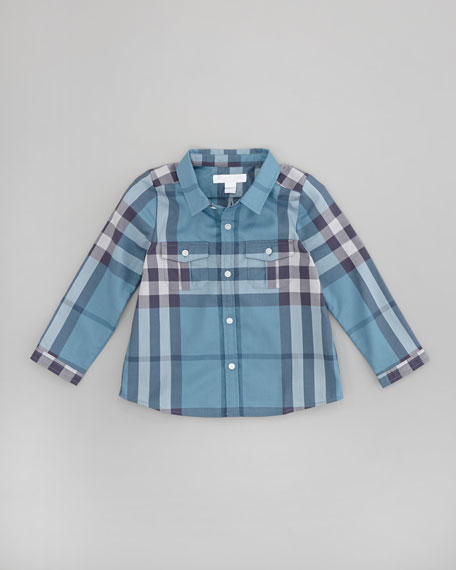 Infant Boys' Check Shirt, Dusty Thistle