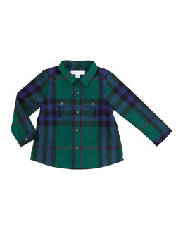 Burberry Infant Boys' Long-Sleeve Check Shirt, Forest Green, 18M-2Y