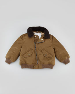 Burberry Infant Boys' Nylon Bomber Jacket, Olive Brown, 18M-2Y