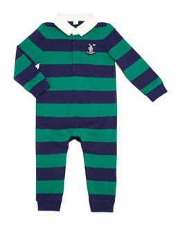 Burberry Infant Boys' Polo-Playsuit, Bright Forest Green/Navy, 12-24 Months
