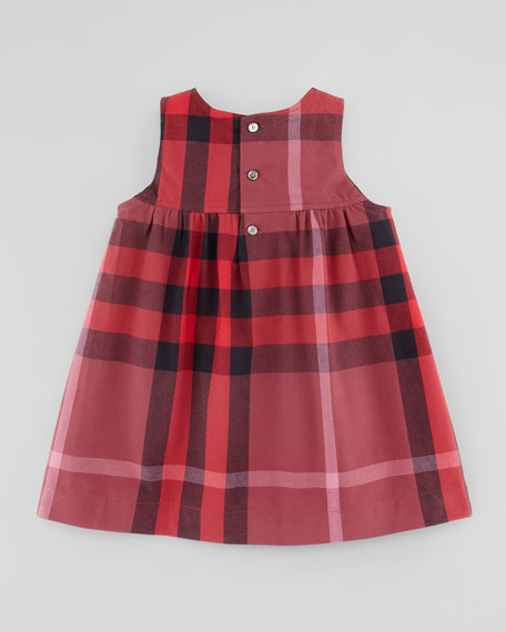 Toddler Girls' Check Twill Dress, Ruby Red