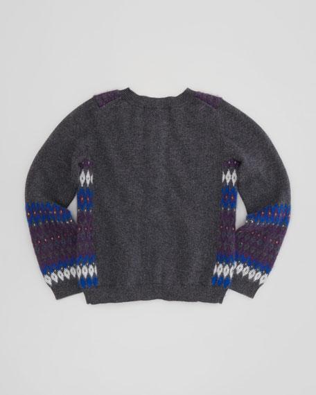Girls' Button-Down Knit Cardigan, Amethyst, 12-24 Months