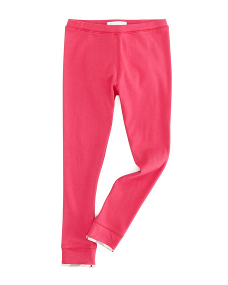 Infant Girls' Check-Trim Leggings, Fuchsia Pink