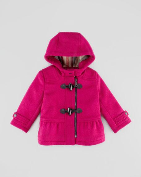 Infant Girls' Wool Duffle Coat, Fritillary Pink, 12-24 Months