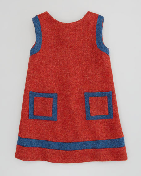 Girls' Contrast Shift Dress, Red, 18M-2Y