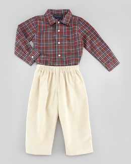 Oscar de la Renta Baby Boys' Grid-Check Oxford Shirt, Brown, 18M-2Y