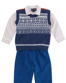 Oscar de la Renta Toddler Boys' Grid-Check Shirt, Red Multi