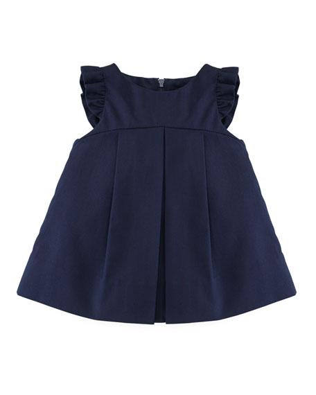 Plain Pincord Flutter-Sleeve Dress, Navy, 12-24 Months