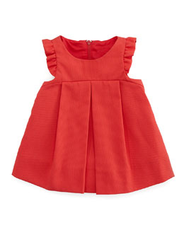 Florence Eiseman Plain Pincord Flutter-Sleeve Dress, Red, 3-9 Months
