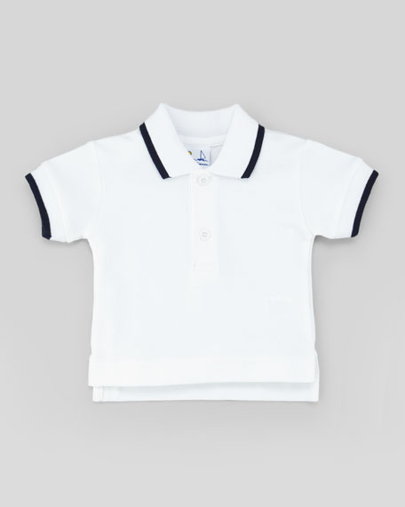 Tipped Pique Polo, White, 3-9 Months