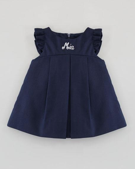 Monogrammed Pincord Flutter-Sleeve Dress, 3-9 Months