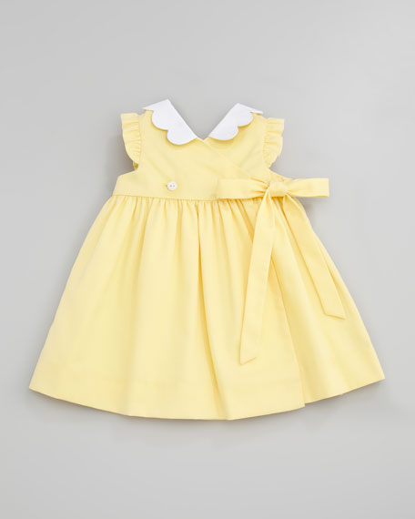 Monogrammed Pincord Dress with Daisy Pockets, Yellow, 3-9 Months