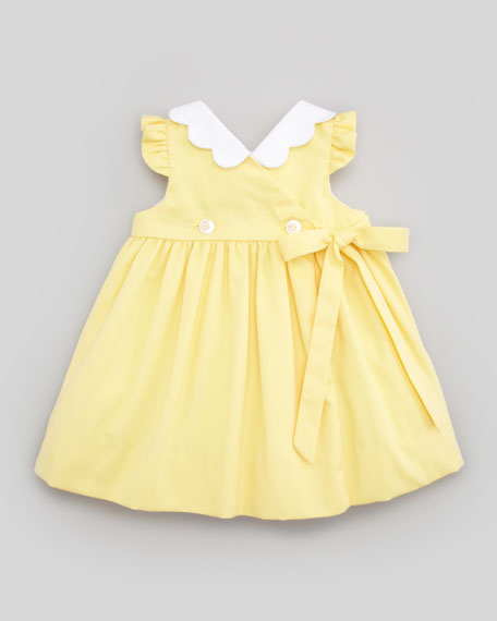 Monogrammed Pincord Dress with Daisy Pockets, Yellow, 12-24 Months