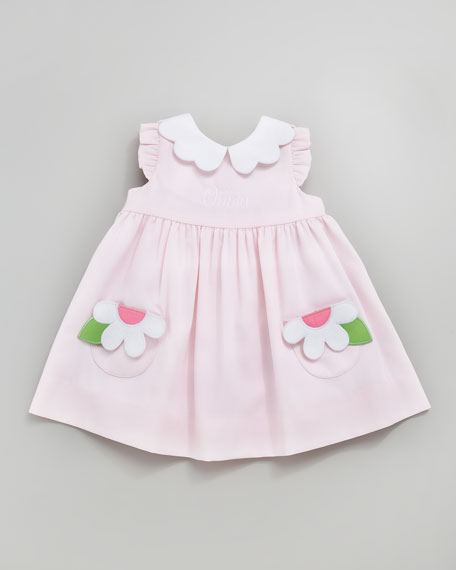 Monogrammed Pincord Dress with Daisy Pockets, Light Pink, 3-9 Months
