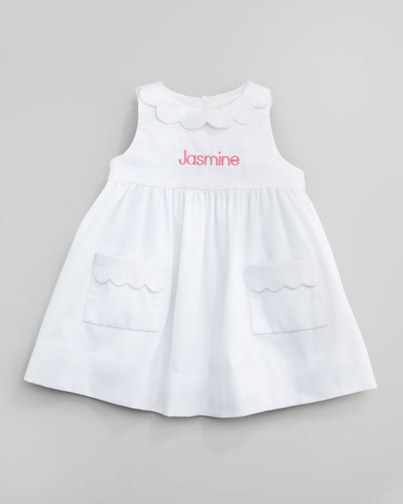 Scalloped Pincord Dress, White, 3-9 Months
