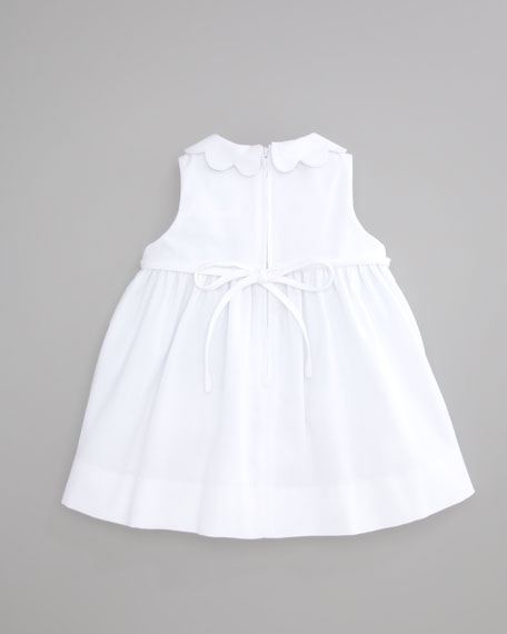 Monogrammed Scalloped Pincord Dress, White, 12-24 Months