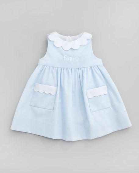 Monogrammed Scalloped Pincord Dress, Light Blue, 12-24 Months
