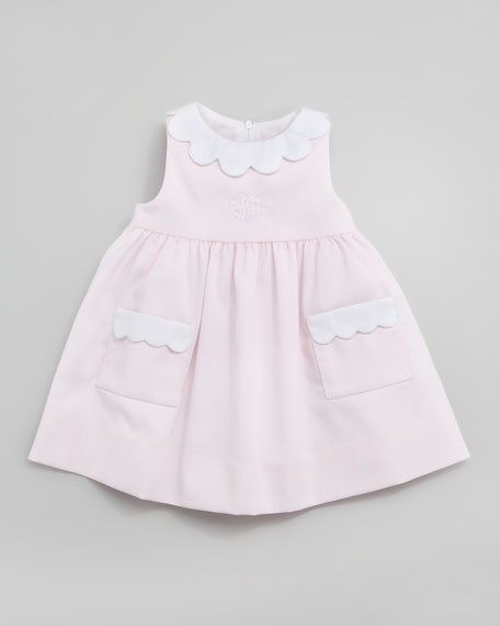 Monogrammed Scalloped Pincord Dress, 12-24 Months