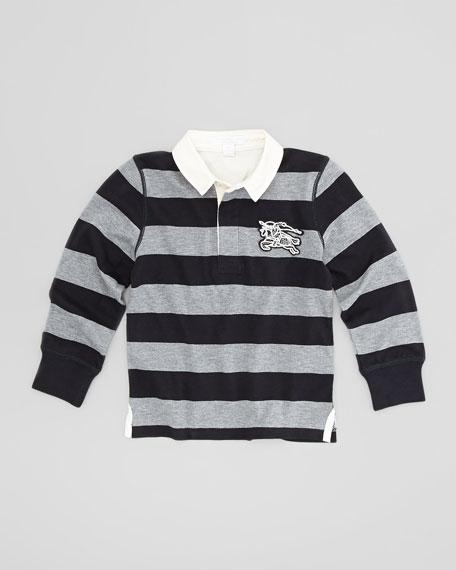 Boys' Rugby Polo Shirt, Navy, 4Y-10Y
