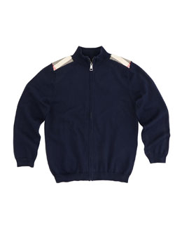 Burberry Boys' Knit Zip Cardigan, Navy