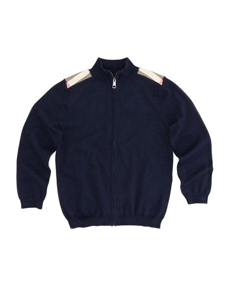 Boys' Knit Zip Cardigan, Navy