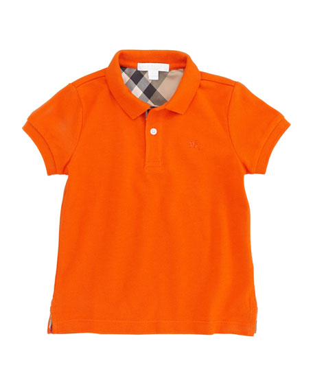 Boys' Check-Trim Polo, Tangerine