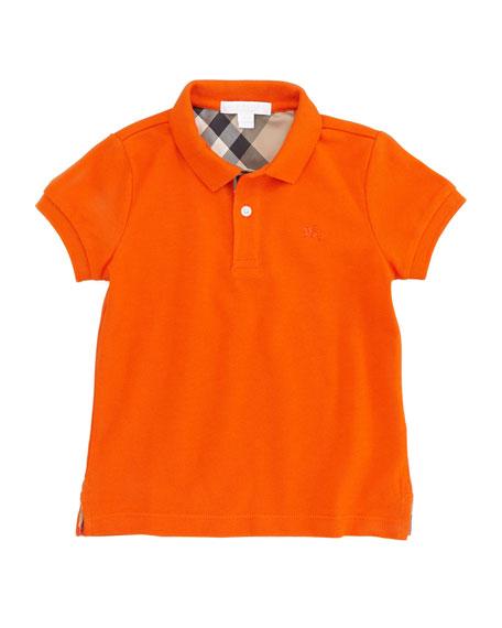 Boys' Check-Trim Polo, Tangerine