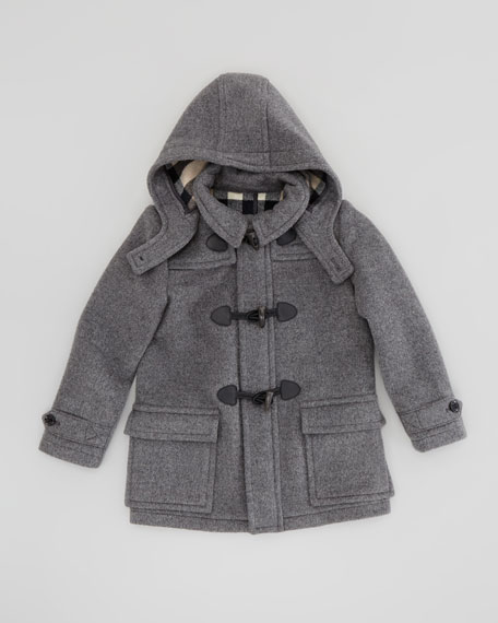 Burberry Boys' Wool Duffle Coat, Mid-Gray Melange