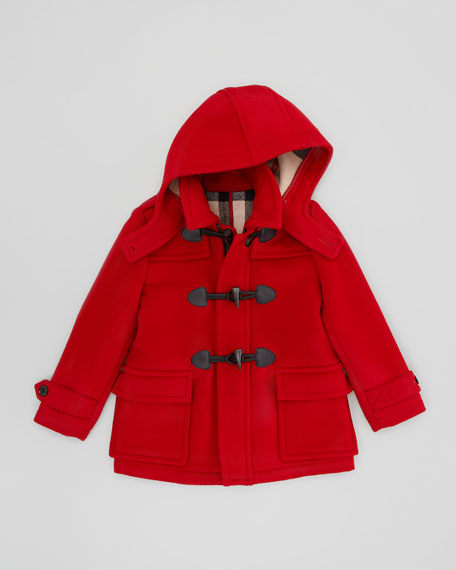 Burberry Boys' Wool Duffle Coat, Military Red, 4Y-10Y