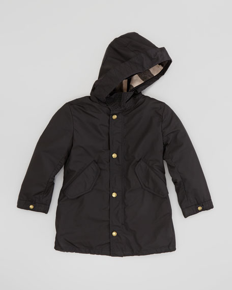 Burberry Boys' Military Parka with Detachable Check Warmer, Black
