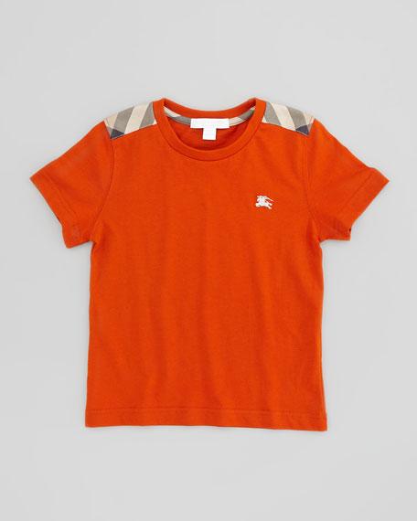 Boys' Check-Shoulder Tee, Burnt Orange, 4Y-10Y