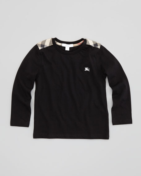 Long-Sleeve Check-Shoulder Tee, Black