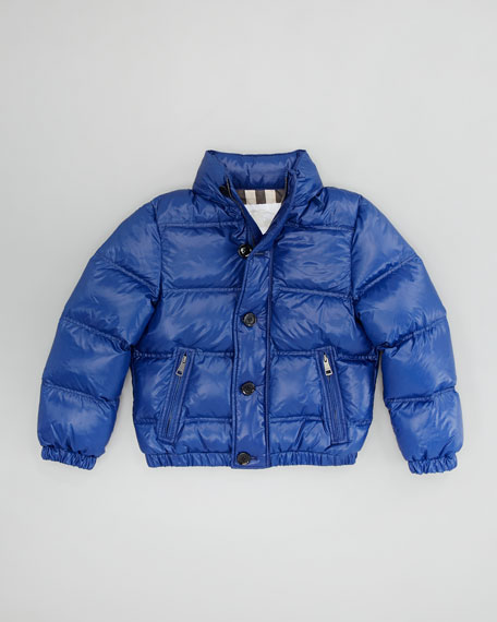 Boys' Quilted Puffer Jacket, Bright Navy Blue, 4Y-10Y