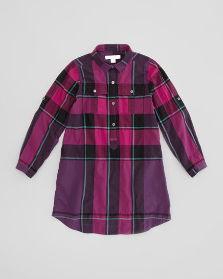 Girls' Check Shirtdress, Dark Purple, 4Y-10Y